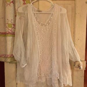 2x white gauze lace top